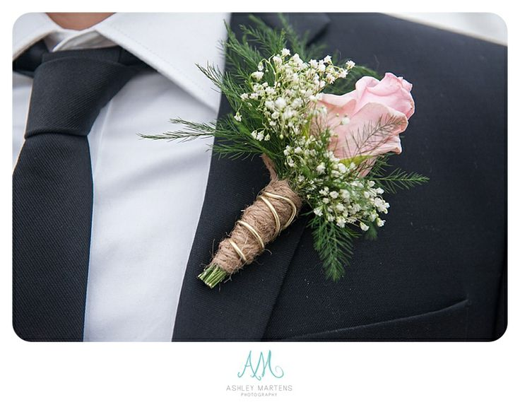 Baby breath, twine and rose boutonniere.