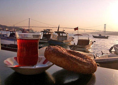 Turkish tea with simit is traditional in Turkish culture.