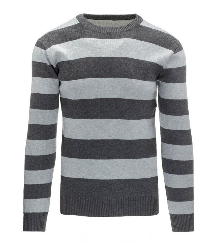Pánsky pásikavý antracitový sveter
