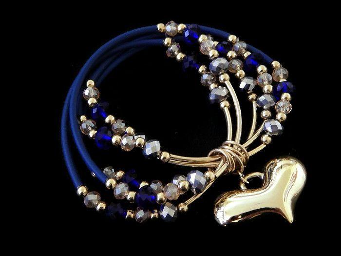 PQC ,07 Hermosa pulsera de 5 piezas unidas de caucho en chapa de oro 14k