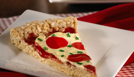 ~Pizza treats~ rice krispie treats made into pizza. How COOL!