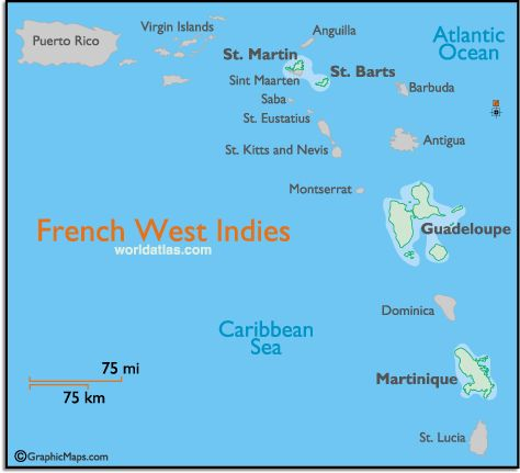 Map of the French Indies and French West Indies Map and Information Page. Include islands of Martinique, Guadalope , St Barts & St. Martin(St. Maarten is the Dutch side), the Caribbean