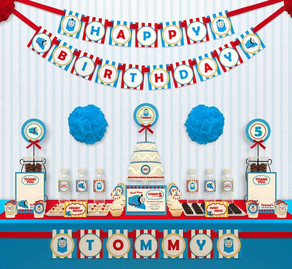 Choo Choo Thomas The Train Birthday Party Package Personalized FULL Collection Set - PRINTABLE DIY - PS507y