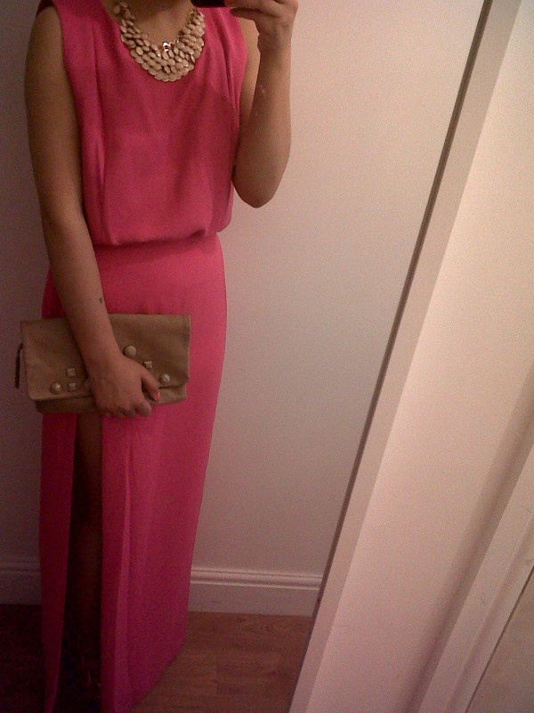H conscious collection fuschia pink maxi skirt, with side split and matching box vest. Combined with a nude pink necklace and clutch. Outfit for an indian wedding I am attending this bank holiday weekend!