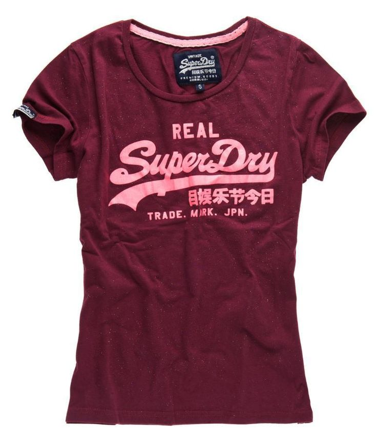 New Womens Superdry Vintage Logo Entry T-Shirt Burgundy in Clothes, Shoes & Accessories, Women's Clothing, T-Shirts | eBay