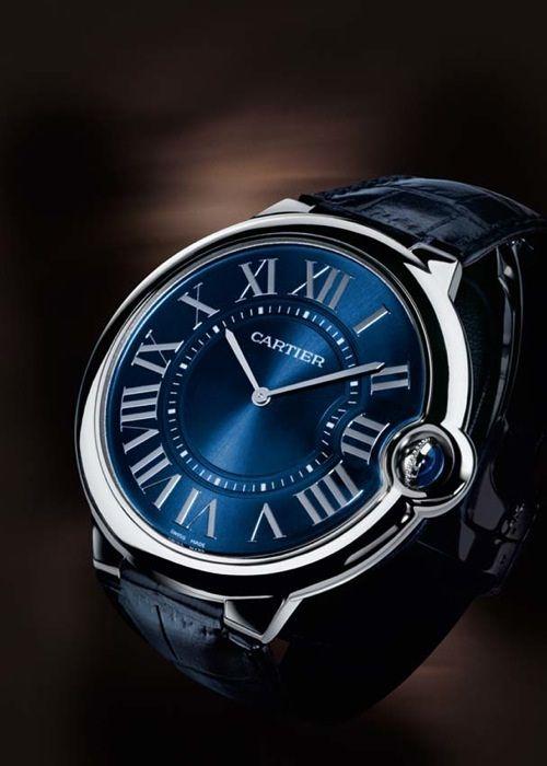 Cartier. Ballon bleu Collection. Platinum and leather. Saphire dial. ENGAGEMENT WATCH!