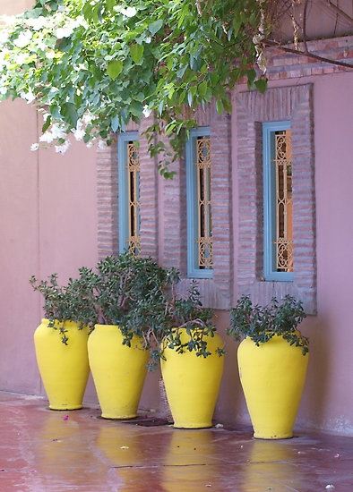 painted pots for the moroccan garden