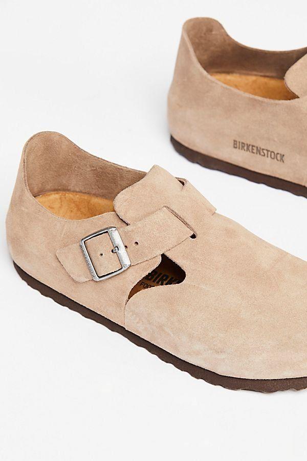 fcc814cfa6339b London Birkenstock - Nude Suede Slip-On Closed Toe Birkenstocks