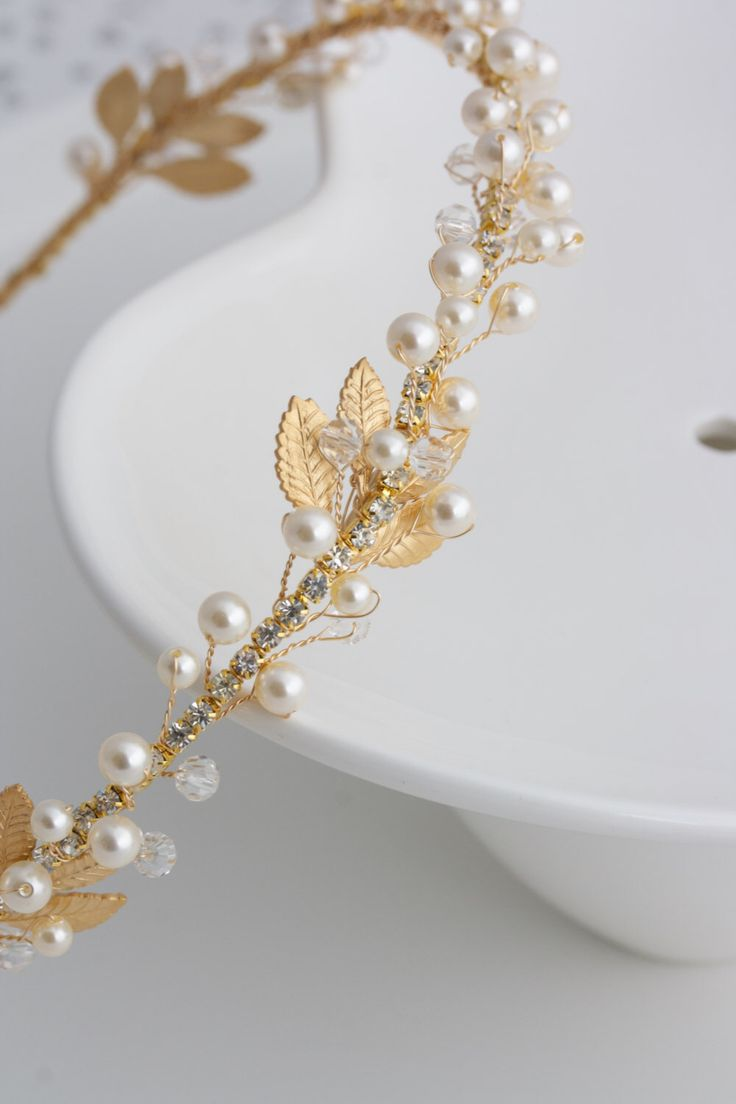 Ha hair accessories vancouver bc - Gold Bridal Headband Pearl Headpiece Matt Gold Leaf Headband Delicate Simple Wedding Hair Accessory Edera