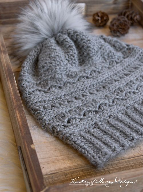 9453062da6b Crochet a winter slouch hat for women with this free crochet slouch hat  pattern. Instructions for making a faux fur pom-pom are included.