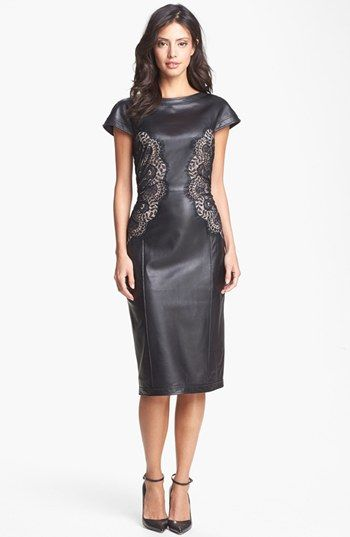 Tadashi Shoji Lace Detail Leather Sheath Dress available at #Nordstrom