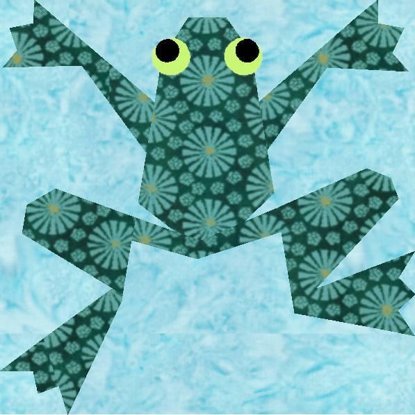 free paper piecing quilt patterns to print | Quilting: Kiriki the Frog Paper Pieced Quilt Block