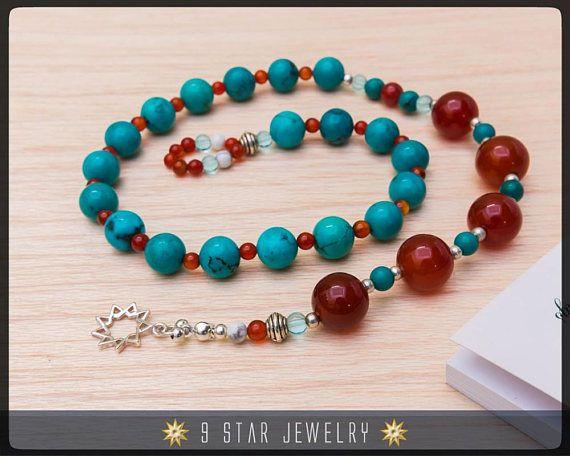 Turquoise & Carnelian w/ 925 Sterling Silver bahai 9 Star - 5x19 Baha'i Prayer Beads