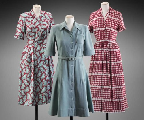(Left) Day dress, 1945 UK    (Middle) Utility dress, 1942 UK    (Right) Day dress, 1945 UK    MFA Boston