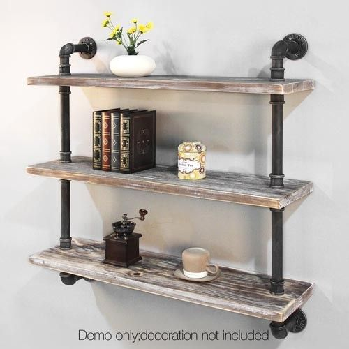 3 Level Rustic Bookshelf Industrial Pipe and Wood Shelf Vintage Look Wall Storage #industrial_shelves_decor