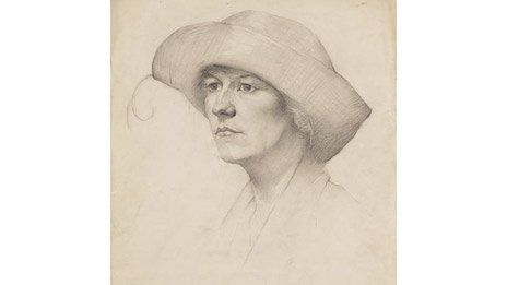 Head of a Woman in a Feathered Hat by LS Lowry