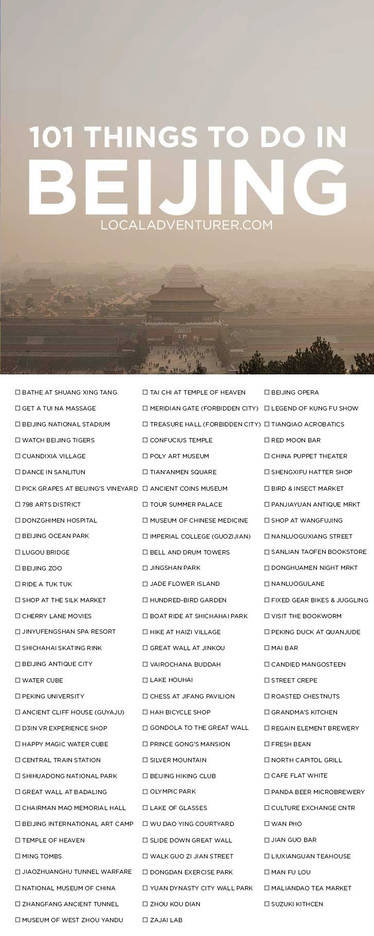 101 Things to Do in Beijing China {click through to get the printable  version}