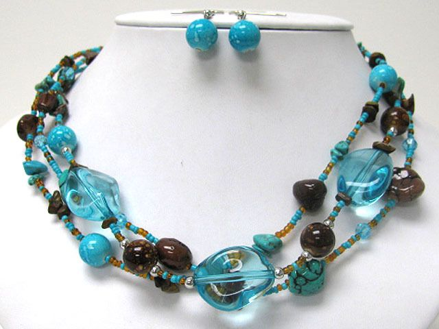 Triple Row Natural Turquoise Stone and Glass Ball Link Necklace Earring Set