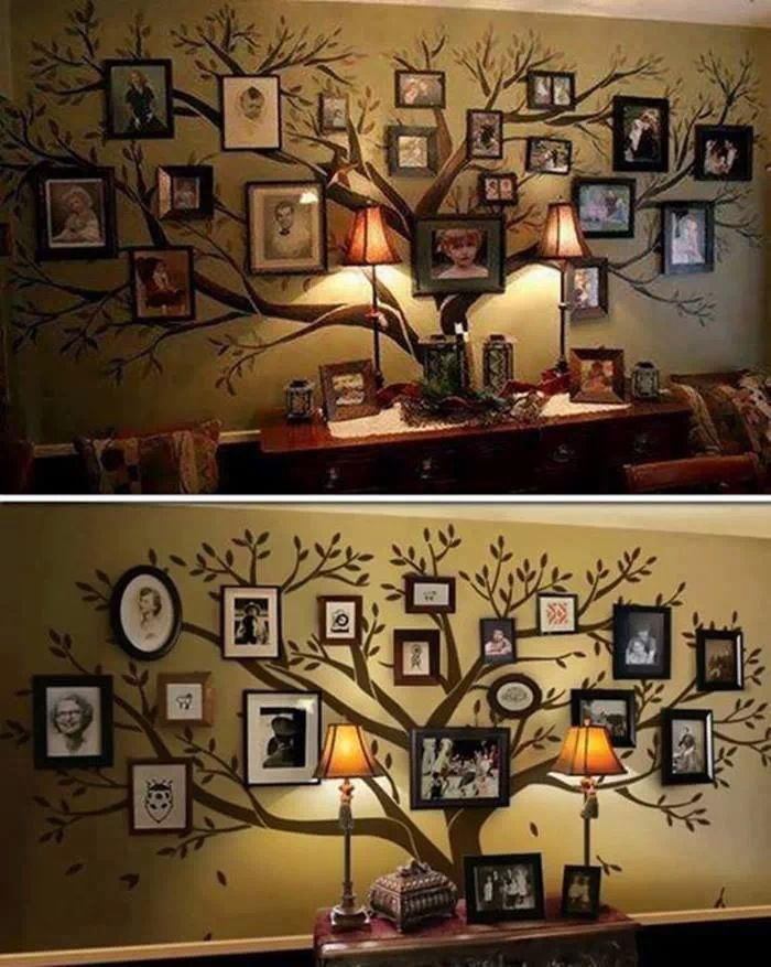 Decoración pared con árbol pintado y marcos reciclados.