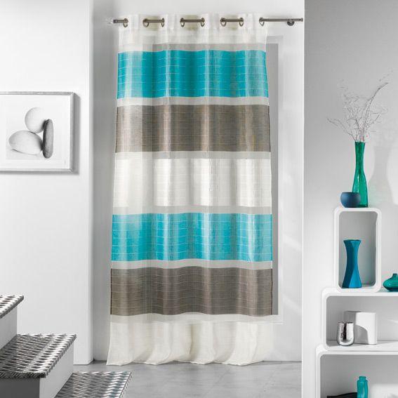 voilage oeillets trio bleu choisissez parmi tous nos with voilage tati. Black Bedroom Furniture Sets. Home Design Ideas