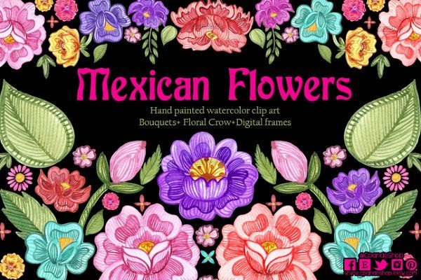 Mexican Flowers watercolor clip art - Illustrations