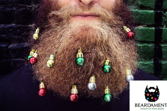 Beard Ornaments with Mini Clips! (12 pack) - Beard Baubles by Beardaments - Beard Bling -  (Red, Green, Gold, Silver)