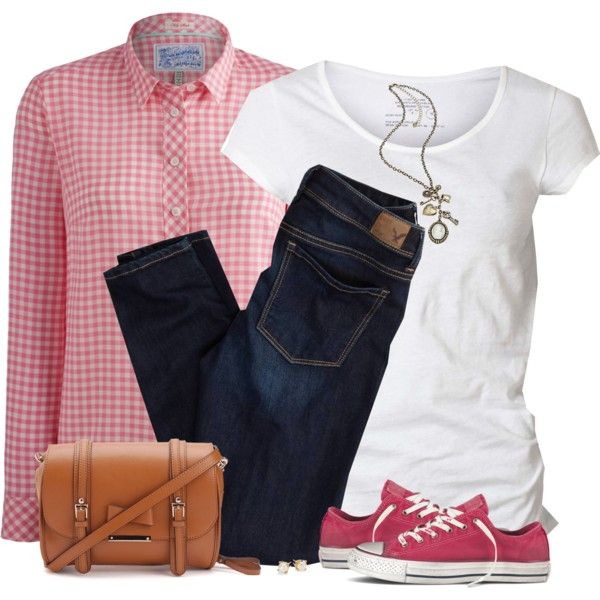 Pink Gingham Shirt by daiscat on Polyvore