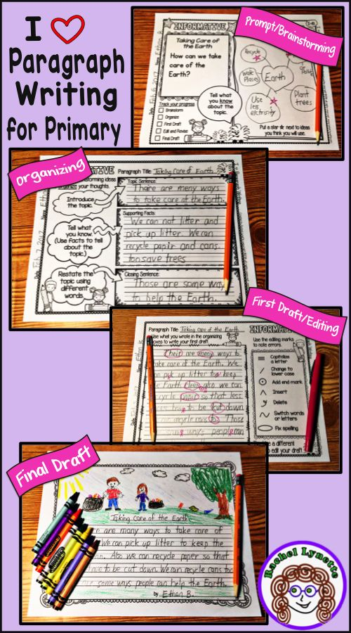 From prompt to final draft, here is a step-by-step process to help your students write opinion, informative, and narrative paragraphs. Especially for first and second grade!  Perfect for Paragraph of the week. #paragraphoftheweek #paragraphwriting #writing