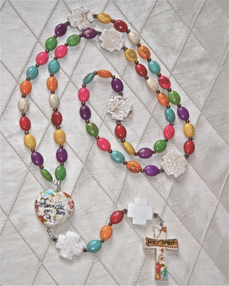 "Second grade Gala/art/auction project- the making of a ""fingerprint"" rosary has become a tradition for the second grade classes for our school's gala/auction.  One bead has a student's name written on it followed by a bead with his/her fingerprint.  We went with a multicolored bead pattern this year."