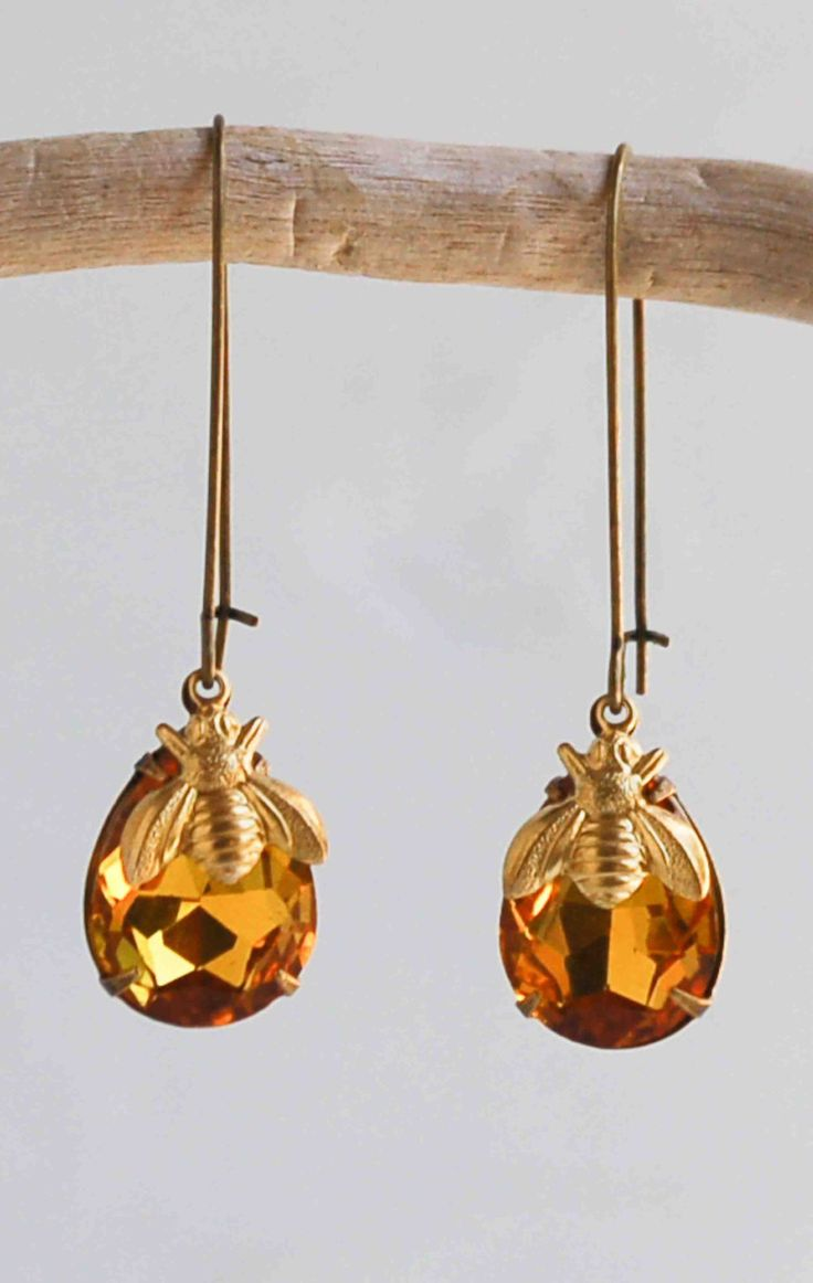 Bee Earrings Crystal Amber Earrings Honeybee Earrings ...