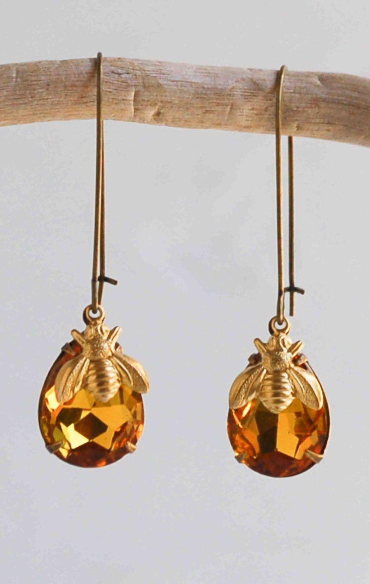 Amber Crystal Honey BEE Jewel Vintage Style
