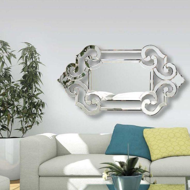 Espejo rectangular veneciano con doble marco y dibujo calado – DERBE MUEBLES