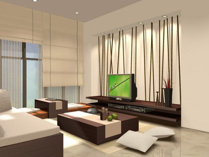 Interior Reasons Why Japanese Interior Design Is Popular: Modern Creamy  Japanese Living Room Design With Dark Solid Hardwood Furniture Wall Mounted  Wood Tv ...