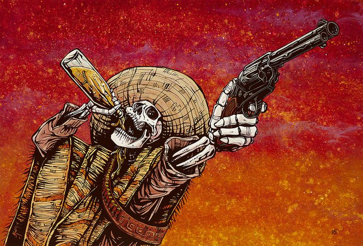 Title: Shot For Shot Artist: David Lozeau The skeleton bandido won't leave until he runs out of bullets and booze. Made-to-order David Lozeau canvas fine art reproductions on canvas. Stretched and rea