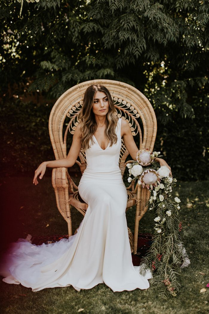 This intimate Palm Springs wedding features modern bohemian décor, two totally fabulous bridal looks, and a late-night hookah lounge.