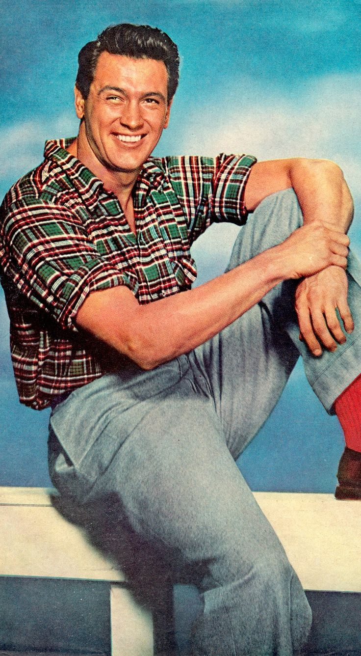 ROCK HUDSON 50's color pin-up from Photoplay. Vintage clipping. (minkshmink collection)
