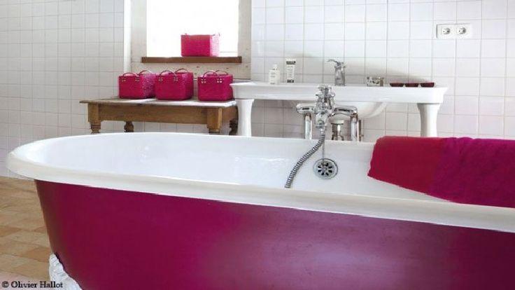 1000 id es sur le th me couleurs de peinture salle de bains sur pinterest p - Peinture baignoire fonte ...