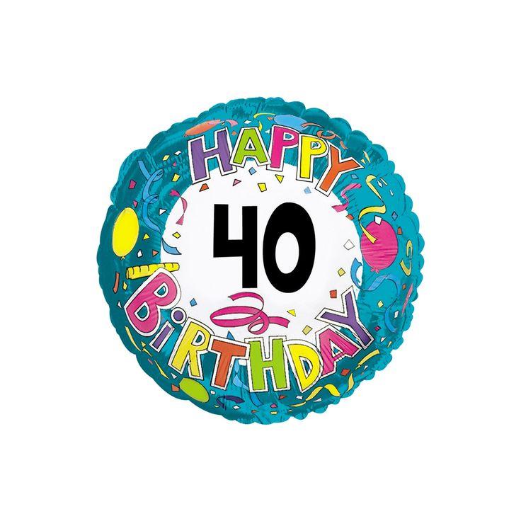 Happy Birthday 40 Mylar Balloon,