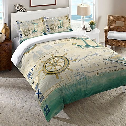 The Laural Home Mariner's Sentiment Duvet Cover sends you on a journey through the seas with a distinctive nautical look digitally printed for crisp, vivid color. It features anchors, sailboats, compasses, maps, and more in soft hues of greens and blues.