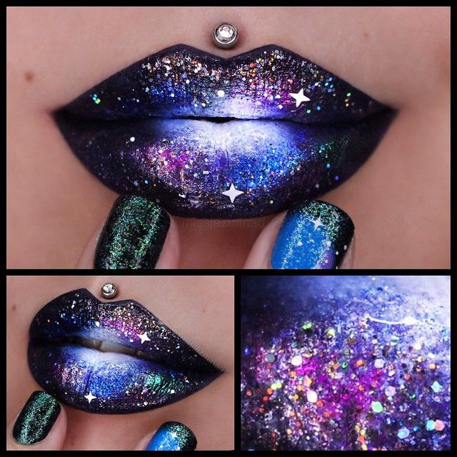I was trying to do another Galaxy themed lip but it didn't turn out  Anyways details.. For the base I used @jeffreestarcosmetics 'Weirdo & Abused' Velour Liquid Lipsticks & Ben Nye White Face Paint  @Sugarpill Loose Eyeshadows 'Junebug, Hellatronic, Birthday Girl' & pressed Eyeshadows '2AM, Dollipop, Poison Plum, Tako & Velocity'  @Shopvioletvoss 'Sparks & Taylor' glittersNails are Elegant Touch 'Little Mix Perrie' Press On Nails  also used my brushes from @karlacosmetics for precisio