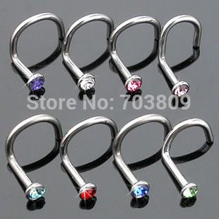 Free Shipping Nickel-free stainless steel  mix 10 colors body jewelry piercing screw nose piercing nose stud