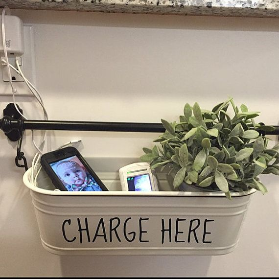 CHARGE HERE - DIY Charging Station Decal - Charging Port Station - Home Decor