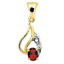 Ruby and Diamond leaf pendant - BEE-61559-CR