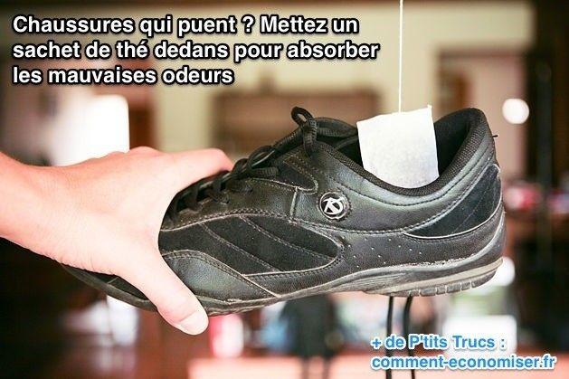 Mettez un sachet de thé dans les chaussures qui puent