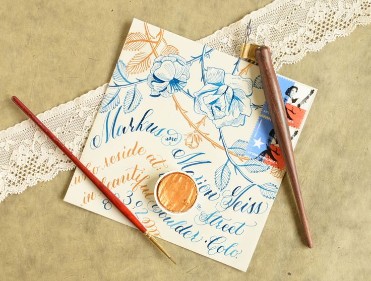 Floral Mail art. Calligraphy Spacing Tips and Techniques | The Postman's Knock Orange, blue, Lydia Martinez