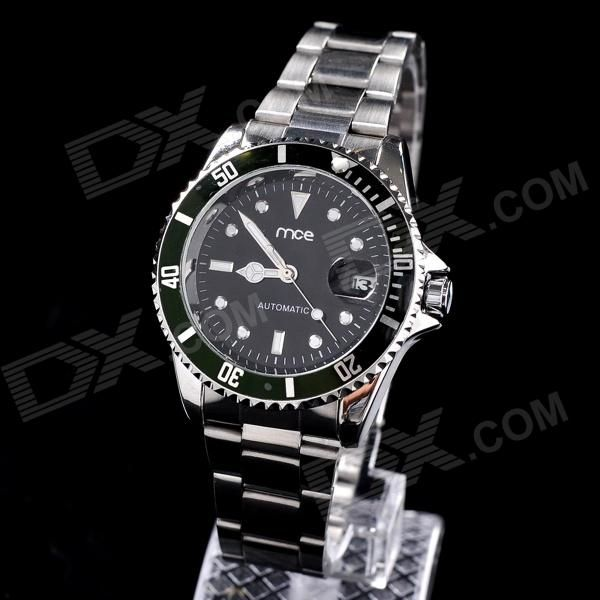 MCE 01-008A-003 Fashionable Analog Automatic Mechanical Wrist Watch w/ Rotating Scale Ring - Silver