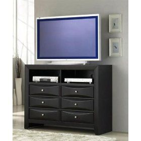 TV Dresser Stand with Brushed Chrome Accents in Glossy Black Finish $367.26