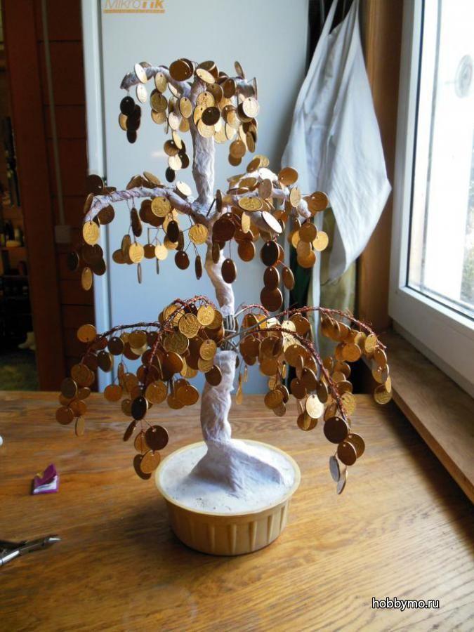 Денежное дерево из монет своими руками, мк с пошаговыми фото