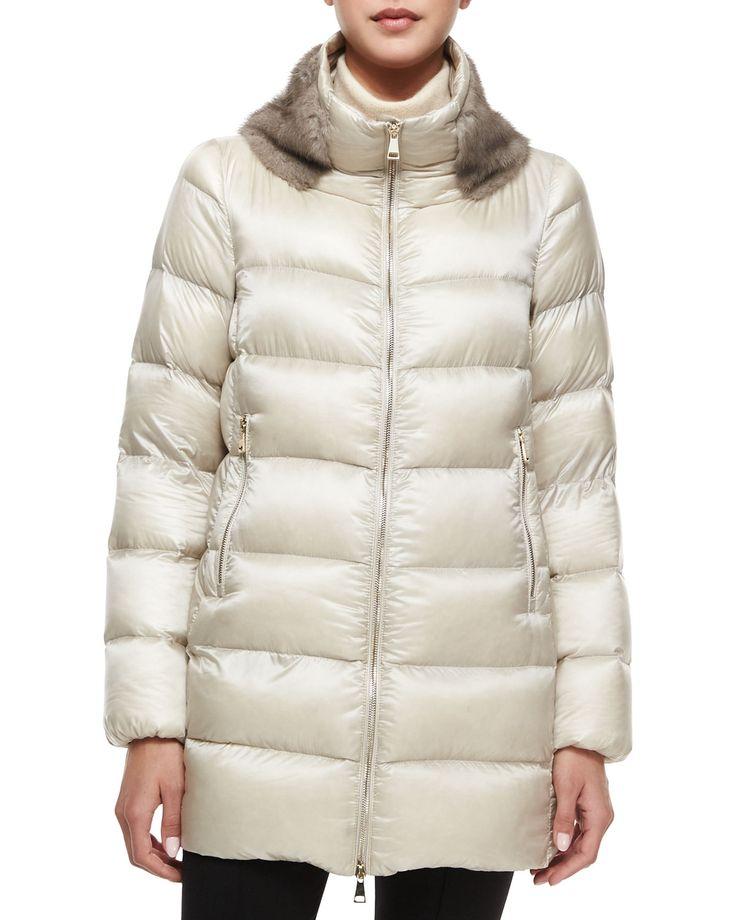 Argy Fur-Trim Puffer Coat, Women's, Size: 3 (Medium), Khaki - Moncler