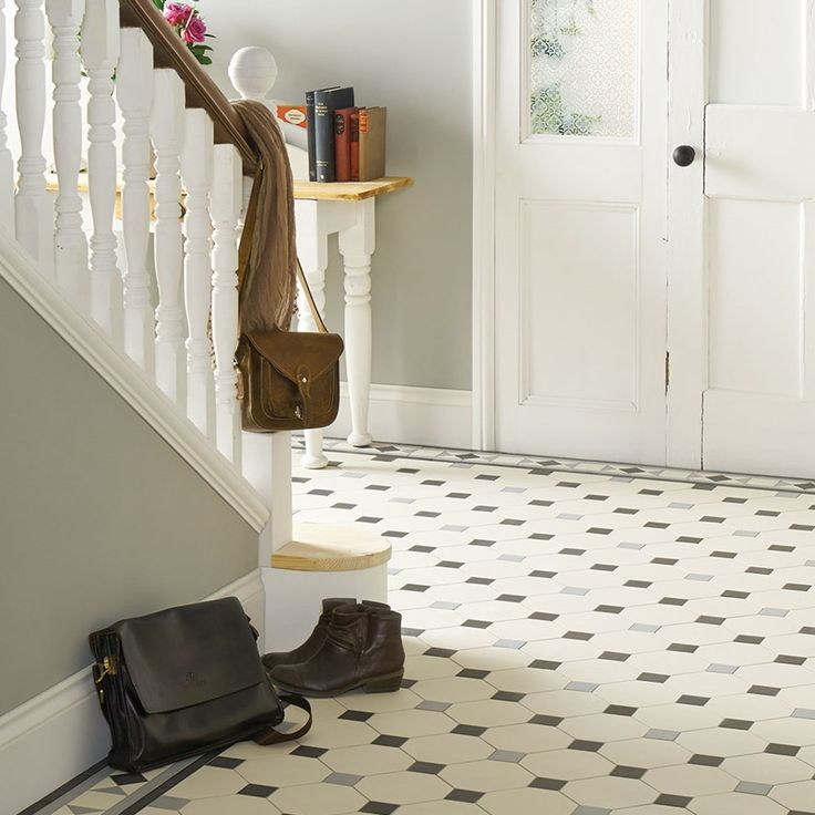 Nottingham Victorian Floor Tile Pattern with Conrad border in Dover White, Black and Grey